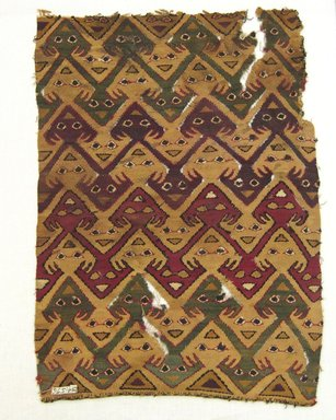 Chimú. <em>Tunic, Fragment or Textile Fragment, Undetermined</em>, 1400-1532. Cotton, camelid fiber, 16 13/16 × 11 3/4 in. (42.7 × 29.8 cm). Brooklyn Museum, George C. Brackett Fund, 34.576. Creative Commons-BY (Photo: Brooklyn Museum, CUR.34.576.jpg)