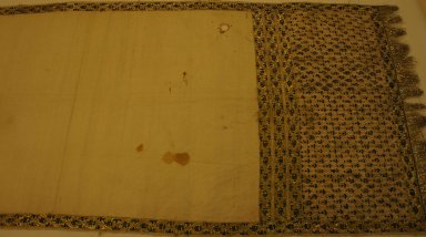 <em>Sash (Patka)</em>, late 19th century. White plain cloth weave cotton, 21 5/8 x 118 1/8 in. (55 x 300 cm). Brooklyn Museum, Brooklyn Museum Collection, 34.5766. Creative Commons-BY (Photo: Brooklyn Museum, CUR.34.5766.jpg)
