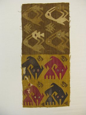 Chimú. <em>Textile Fragment, undetermined</em>, 1000-1532. Cotton, camelid fiber, 17 15/16 in. (45.5 cm). Brooklyn Museum, George C. Brackett Fund, 34.578. Creative Commons-BY (Photo: Brooklyn Museum, CUR.34.578_view2.jpg)