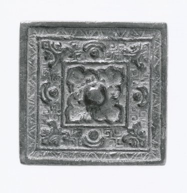 <em>Mirror</em>. Bronze, 2 3/8 x 2 3/8 in. (6 x 6 cm). Brooklyn Museum, Brooklyn Museum Collection, 34.5853. Creative Commons-BY (Photo: Brooklyn Museum, CUR.34.5853_bw.jpg)