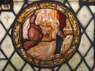 <em>Annunciation</em>. Stained glass, 17 x 17 1/4 in. (43.2 x 43.8 cm). Brooklyn Museum, Gift of Mary Babbott Ladd, Lydia Babbott Stokes, Helen Babbott MacDonald, and Dr. Frank L. Babbott, Jr. in memory of their father, Frank L. Babbott, 34.6090.14. Creative Commons-BY (Photo: Brooklyn Museum, CUR.34.6090.14.jpg)