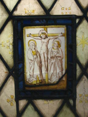 <em>Christ Crucified</em>. Stained glass, 10 3/4 x 8 in. (27.3 x 20.3 cm). Brooklyn Museum, Gift of Mary Babbott Ladd, Lydia Babbott Stokes, Helen Babbott MacDonald, and Dr. Frank L. Babbott, Jr. in memory of their father, Frank L. Babbott, 34.6090.15. Creative Commons-BY (Photo: Brooklyn Museum, CUR.34.6090.15.jpg)