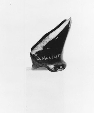 Greek. <em>Potsherd with Forged Inscription</em>, 450-300 B.C.E. and much later. Clay, pigment, 1 9/16 x 2 7/16 in. (3.9 x 6.2 cm). Brooklyn Museum, Charles Edwin Wilbour Fund, 34.690. Creative Commons-BY (Photo: Brooklyn Museum, CUR.34.690_NegA_print_bw.jpg)