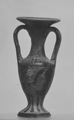 Attic. <em>Miniature Red-Figure Loutrophoros</em>, early 4th century B.C.E. Clay, pigment, 2 3/4 x Diam. 1 1/4 in. (7 x 3.2 cm). Brooklyn Museum, Charles Edwin Wilbour Fund, 34.721. Creative Commons-BY (Photo: Brooklyn Museum, CUR.34.721_print_cropped_bw.jpg)