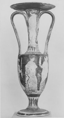 Attic. <em>Wedding Vase (Loutrophoros)</em>, ca. 430 B.C.E. Clay, pigment, 11 3/4 x Greatest Diam. 4 13/16 in. (29.8 x 12.2 cm). Brooklyn Museum, Charles Edwin Wilbour Fund, 34.729. Creative Commons-BY (Photo: Brooklyn Museum, CUR.34.729_NegA_print_bw.jpg)