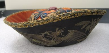 <em>Hat</em>, 19th century. Satin, 4 5/16 in. (11 x 33 cm). Brooklyn Museum, Brooklyn Museum Collection, 34.914. Creative Commons-BY (Photo: Brooklyn Museum, CUR.34.914_side1.jpg)