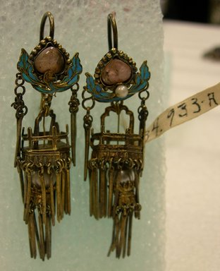 <em>Pair of Earrings</em>, 19th-early 20th century. gilded silver, kingfisher's feather, gem stones, pearls, each: 13/16 x 2 3/4 in. (2 x 7 cm). Brooklyn Museum, Brooklyn Museum Collection, 34.933a-b. Creative Commons-BY (Photo: Brooklyn Museum, CUR.34.933a-b_view2.jpg)