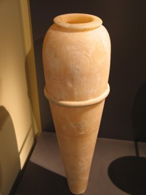 <em>Vase with Pointed Base, from the  Burial of King Djoser</em>, ca. 2675-2625 B.C.E. Egyptian alabaster, 29 1/4 x 5 9/16 in. (74.3 x diam. 14.2 cm). Brooklyn Museum, Charles Edwin Wilbour Fund, 34.978. Creative Commons-BY (Photo: Brooklyn Museum, CUR.34.978_erg2.jpg)