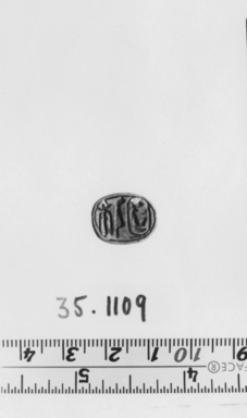 <em>Scarab</em>. Steatite, glaze, 1/4 x 1/2 x 5/8 in. (0.6 x 1.2 x 1.6 cm). Brooklyn Museum, Gift of Theodora Wilbour from the collection of her father, Charles Edwin Wilbour, 35.1109. Creative Commons-BY (Photo: , CUR.35.1109_NegA_print_bw.jpg)