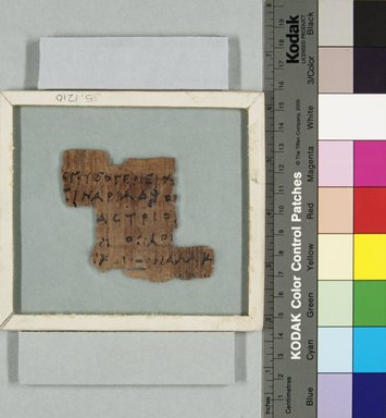 <em>Papyrus Fragment Inscribed in Greek</em>, 3rd century B.C.E. (probably). Papyrus, ink, Glass: 4 1/2 x 5 in. (11.5 x 12.7 cm). Brooklyn Museum, Gift of Theodora Wilbour from the collection of her father, Charles Edwin Wilbour, 35.1210 (Photo: Brooklyn Museum, CUR.35.1210_recto_IMLS_PS5.jpg)