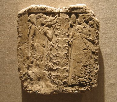 <em>Offering Bearers and Floral Bouquet</em>, 332-30 B.C.E. (possibly). Plaster, 6 3/8 x 5 13/16 in. (16.2 x 14.8 cm). Brooklyn Museum, Charles Edwin Wilbour Fund, 35.1312. Creative Commons-BY (Photo: Brooklyn Museum, CUR.35.1312_wwg8.jpg)