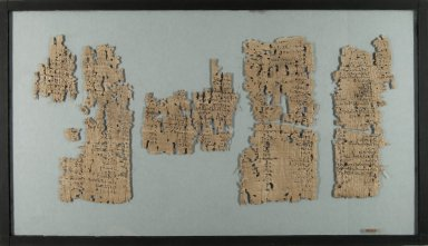 <em>Papyrus Fragments Inscribed in Demotic</em>, ca 100 B.C.E.-100 C.E. Papyrus, ink, Glass: 12 x 20 7/8 in. (30.5 x 53 cm). Brooklyn Museum, Gift of Theodora Wilbour, 35.1451 (Photo: Brooklyn Museum, CUR.35.1451_IMLS_PS5.jpg)
