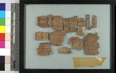 <em>Papyrus Fragments Inscribed in Greek or Coptic</em>, 395-642 C.E. Papyrus, ink, Glass: 8 7/16 x 11 1/4 in. (21.5 x 28.5 cm). Brooklyn Museum, Gift of Theodora Wilbour, 35.1457 (Photo: Brooklyn Museum, CUR.35.1457_front_IMLS_PS5.jpg)