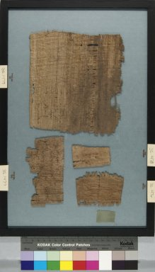 <em>Papyrus Fragment Inscribed in Greek</em>, 6th century C.E. (probably). Papyrus, ink, Glass: 10 7/16 x 16 7/16 in. (26.5 x 41.7 cm). Brooklyn Museum, Gift of Theodora Wilbour, 35.1478 (Photo: , CUR.35.1476_35.1477_35.1478_35.1479_back_IMLS_PS5.jpg)