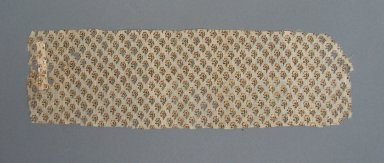 <em>Textile Fragment</em>. Loosely woven printed plain cloth weave cotton, 3 1/8 x 10 5/8 in. (8 x 27 cm). Brooklyn Museum, Brooklyn Museum Collection, 35.1548.1. Creative Commons-BY (Photo: Brooklyn Museum, CUR.35.1548.1.jpg)