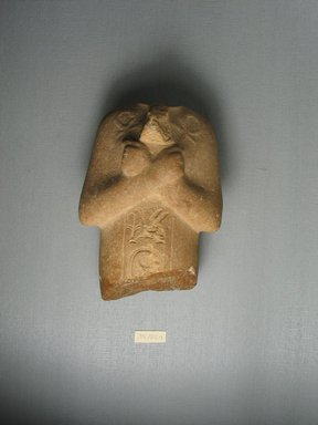 <em>Fragmentary Shabti of Akhenaten</em>, ca. 1352-1336 B.C.E. Calcite sandstone, 6 1/8 x 4 3/16 x 2 15/16 in. (15.6 x 10.7 x 7.5 cm). Brooklyn Museum, Charles Edwin Wilbour Fund, 35.1869. Creative Commons-BY (Photo: Brooklyn Museum, CUR.35.1869_view2.jpg)