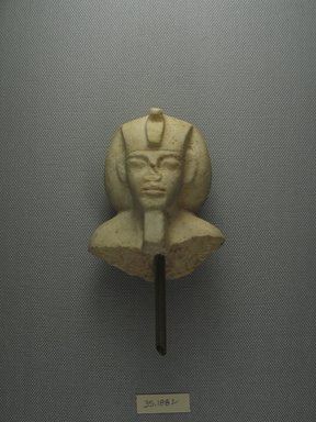 <em>Fragment of a Shabti of Akhenaten</em>, ca. 1352-1336 B.C.E. Limestone, 3 3/8 x 2 3/4 x 1 3/4 in. (8.6 x 7 x 4.5 cm). Brooklyn Museum, Charles Edwin Wilbour Fund, 35.1882. Creative Commons-BY (Photo: Brooklyn Museum, CUR.35.1882_view1.jpg)
