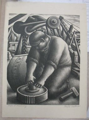 Paul R. Meltsner (American, 1905-1967). <em>Man and Machinery</em>, n.d. Lithograph, Image: 12 3/8 x 9 13/16 in. (31.4 x 24.9 cm). Brooklyn Museum, Gift of the artist, 35.1958 (Photo: Brooklyn Museum, CUR.35.1958.jpg)