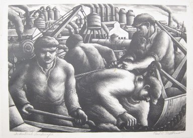 Paul R. Meltsner (American, 1905-1967). <em>Industrial Landscape</em>, 20th century. Lithograph on wove Rives paper, Image: 10 5/16 x 14 9/16 in. (26.2 x 37 cm). Brooklyn Museum, Gift of the artist, 35.1960 (Photo: Brooklyn Museum, CUR.35.1960.jpg)