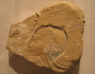 <em>Late Image of Nefertiti</em>, ca. 1352-1336 B.C.E. Sandstone, pigment, 11 9/16 x 3 15/16 x 17 1/8 in. (29.3 x 10 x 43.5 cm). Brooklyn Museum, Gift of the Egypt Exploration Society, 35.1999. Creative Commons-BY (Photo: Brooklyn Museum, CUR.35.1999_wwg7.jpg)