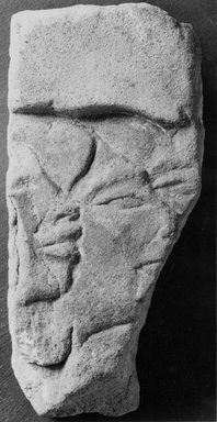 Egyptian. <em>Fragment of Relief</em>, ca. 1352-1336 B.C.E. Sandstone, pigment, 9 7/16 x 4 1/8 x 7 1/2 in. (24 x 10.5 x 19 cm). Brooklyn Museum, Gift of the Egypt Exploration Society, 35.2003. Creative Commons-BY (Photo: Brooklyn Museum, CUR.35.2003_NegA_print_bw.jpg)