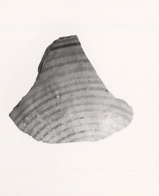 Mycenaean. <em>Fragment of a Mycenaean Bottle</em>, 1425-1300 B.C.E. Clay, pigment, 1 7/16 x 1 3/4 in. (3.7 x 4.4 cm). Brooklyn Museum, Gift of the Egypt Exploration Society, 35.2021. Creative Commons-BY (Photo: Brooklyn Museum, CUR.35.2021_print_NegA_bw.jpg)