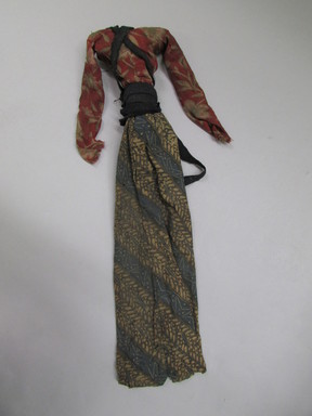 <em>Shadow Play Figure (Wayang golek)</em>. Wood, pigment, fabric, 5 7/8 × 20 7/8 in. (15 × 53 cm). Brooklyn Museum, Gift of Appleton Sturgis, 35.2112. Creative Commons-BY (Photo: , CUR.35.2112_costume.jpg)
