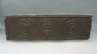 Maori (Te Awara). <em>Treasure Box with Lid  (Papahou)</em>, 1870-1880. Wood, shell, 27 9/16 x 8 7/8 x 6 1/16 in.  (70.0 x 22.5 x 15.4 cm). Brooklyn Museum, Gift of Appleton Sturgis, 35.2197a-b. Creative Commons-BY (Photo: Brooklyn Museum, CUR.35.2197a-b.jpg)