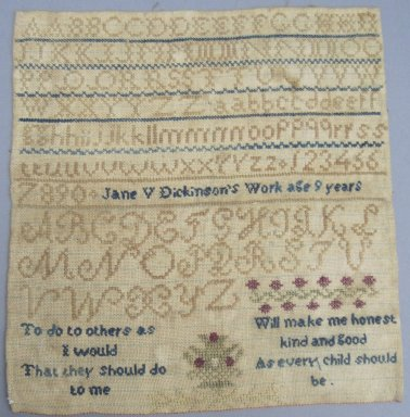 Jane V. Dickinson. <em>[Missing Catalogue Sheet]</em>, 19th century. Linen, 8 1/2 x 9 in. (21.6 x 22.9 cm). Brooklyn Museum, 35.2244 (Photo: , CUR.35.2244.jpg)