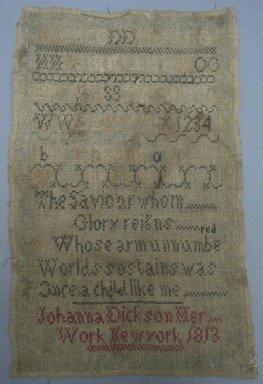 Johanna Dickson. <em>Sampler</em>, 1813. Linen, 8 1/2 x 13 1/4 in. (21.6 x 33.7 cm). Brooklyn Museum, 35.2245 (Photo: Brooklyn Museum, CUR.35.2245.jpg)