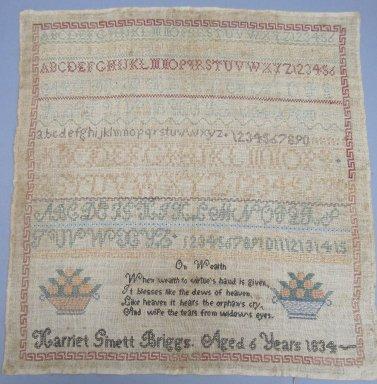 Harriet Gimett Briggs. <em>[Missing Catalogue Sheet]</em>, 1834. Linen, 16 1/4 x 17 in. (41.3 x 43.2 cm). Brooklyn Museum, 35.2246 (Photo: , CUR.35.2246.jpg)
