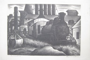 Paul R. Meltsner (American, 1905-1967). <em>The Iron Horse</em>, 20th century. Lithograph on wove paper (possibly Rives), Image: 10 7/16 x 14 13/16 in. (26.5 x 37.7 cm). Brooklyn Museum, 35.2263 (Photo: Brooklyn Museum, CUR.35.2263.jpg)