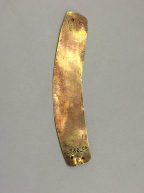 Paracas. <em>Strip</em>. Gold, 13/16 × 4 in. (2.1 × 10.2 cm). Brooklyn Museum, Alfred W. Jenkins Fund, 35.385. Creative Commons-BY (Photo: , CUR.35.385.jpg)