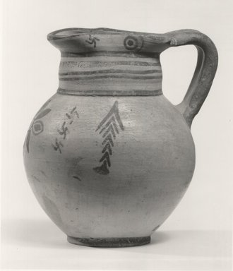 Cypriot. <em>Oinochoe</em>, 600-470 B.C.E. Terracotta, pigment, 6 13/16 in. (17.3 cm). Brooklyn Museum, Brooklyn Museum Collection, 35.639. Creative Commons-BY (Photo: Brooklyn Museum, CUR.35.639_print_NegA_bw.jpg)