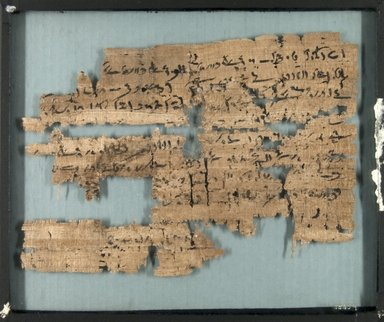 <em>Papyrus Inscribed in Demotic</em>, 664-404 B.C.E. Papyrus, ink, Glass: 10 1/16 x 12 3/16 in. (25.5 x 31 cm). Brooklyn Museum, Gift of Theodora Wilbour, 35.659 (Photo: Brooklyn Museum, CUR.35.659_front_IMLS_PS5.jpg)