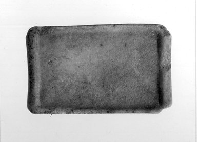 Cycladic. <em>Palette</em>, ca. 2500 B.C.E. Marble, 5/8 x 2 3/16 x 3 11/16 in. (1.6 x 5.6 x 9.3 cm). Brooklyn Museum, Charles Edwin Wilbour Fund, 35.731. Creative Commons-BY (Photo: Brooklyn Museum, CUR.35.731_NegB_print_bw.jpg)
