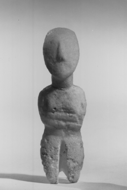 Cycladic. <em>Female Figure</em>, ca. 3000 B.C.E. Marble, 4 1/8 x 1 5/16 in. (10.4 x 3.3 cm). Brooklyn Museum, Charles Edwin Wilbour Fund, 35.734. Creative Commons-BY (Photo: Brooklyn Museum, CUR.35.734_NegD_print_bw.jpg)