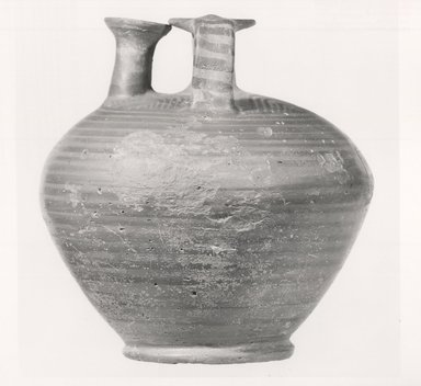 Mycenaean. <em>Jar</em>, ca. 1420-1190 B.C.E. Clay, glaze, 7 5/16 x Diam. 7 1/4 in. (18.6 x 18.4 cm). Brooklyn Museum, Charles Edwin Wilbour Fund, 35.736. Creative Commons-BY (Photo: Brooklyn Museum, CUR.35.736_print_NegA_bw.jpg)