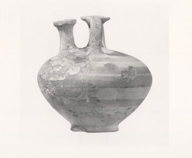 Mycenaean. <em>Stirrup-Jar</em>, ca. 1300-1190 B.C.E. Clay, pigment, 4 1/8 x Diam. 4 1/8 in. (10.4 x 10.4 cm). Brooklyn Museum, Charles Edwin Wilbour Fund, 35.737. Creative Commons-BY (Photo: Brooklyn Museum, CUR.35.737_print_NegA_bw.jpg)