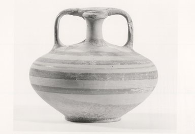 Mycenaean. <em>Lesser Stirrup-Jar</em>, ca. 1330-1190 B.C.E. Clay, pigment, 3 15/16 x Diam. 4 9/16 in. (10 x 11.6 cm). Brooklyn Museum, Charles Edwin Wilbour Fund, 35.738. Creative Commons-BY (Photo: Brooklyn Museum, CUR.35.738_print_NegA_bw.jpg)