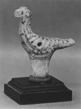 Greek. <em>Votive Bird</em>, ca. 1420-1190 B.C.E. Terracotta, pigment, 2 15/16 x 15/16 x 2 3/16 in. (7.5 x 2.4 x 5.5 cm). Brooklyn Museum, Charles Edwin Wilbour Fund, 35.748a-b. Creative Commons-BY (Photo: Brooklyn Museum, CUR.35.748a-b_print_bw.jpg)