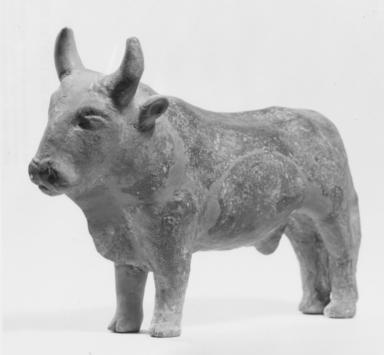 Mycenaean. <em>Bull</em>, 1500–1450 B.C.E. Terracotta, 4 1/2 x 6 3/4 in. (11.4 x 17.1 cm). Brooklyn Museum, Charles Edwin Wilbour Fund, 35.753. Creative Commons-BY (Photo: , CUR.35.753_NegF_print_bw.jpg)