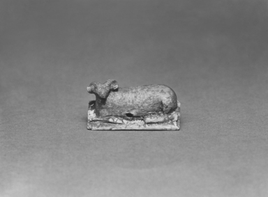 <em>Ram</em>, 8th century B.C.E. Bone, 5/8 x 5/8 x 1 5/16 in. (1.6 x 1.6 x 3.4 cm). Brooklyn Museum, Charles Edwin Wilbour Fund, 35.756. Creative Commons-BY (Photo: Brooklyn Museum, CUR.35.756_print_bw.jpg)