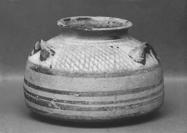 Mycenaean. <em>Alabastron</em>, ca.1250 B.C.E. Clay, pigment, 3 3/4 x Diam. 5 5/16 in. (9.5 x 13.5 cm). Brooklyn Museum, Charles Edwin Wilbour Fund, 35.765. Creative Commons-BY (Photo: Brooklyn Museum, CUR.35.765_print_bw.jpg)