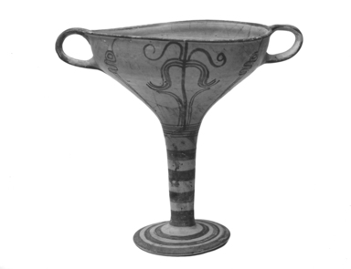 Mycenaean. <em>Goblet</em>, ca.1300 B.C.E. Clay, pigment, 7 3/8 x Diam. 8 3/16 in. (18.7 x 20.8 cm). Brooklyn Museum, Charles Edwin Wilbour Fund, 35.766. Creative Commons-BY (Photo: Brooklyn Museum, CUR.35.766_print_bw.jpg)