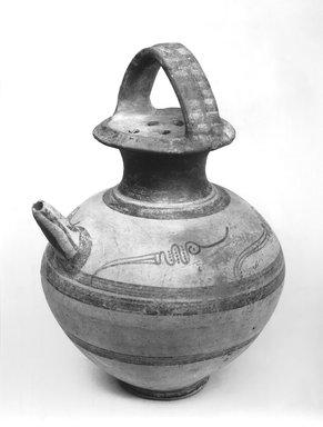 Mycenaean. <em>Feeding Bottle</em>, ca.1250 B.C.E. Clay, pigment, 10 13/16 x Diam. 7 9/16 in. (27.4 x 19.2 cm). Brooklyn Museum, Charles Edwin Wilbour Fund, 35.769. Creative Commons-BY (Photo: Brooklyn Museum, CUR.35.769_print_bw.jpg)
