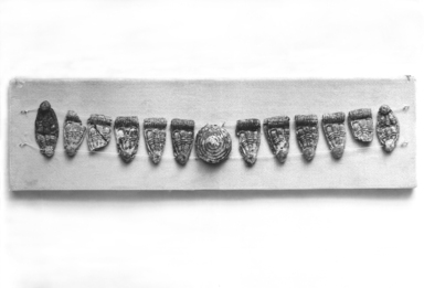 Mycenaean. <em>Necklace</em>, ca. 1420-1190 B.C.E. Glass paste, Length: 8 1/16 in. (20.5 cm). Brooklyn Museum, Charles Edwin Wilbour Fund, 35.808. Creative Commons-BY (Photo: Brooklyn Museum, CUR.35.808_print_bw.jpg)