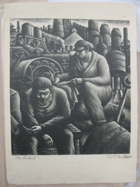 Paul R. Meltsner (American, 1905-1967). <em>The Lock Out</em>, n.d. Lithograph, Sheet: 15 5/8 x 11 7/16 in. (39.7 x 29.1 cm). Brooklyn Museum, 35.842 (Photo: Brooklyn Museum, CUR.35.842.jpg)