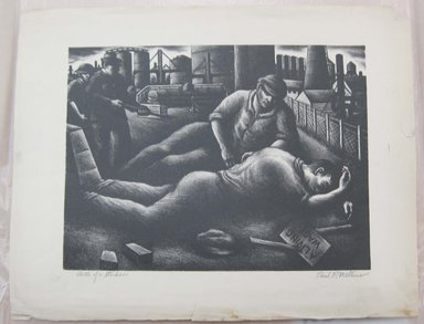 Paul R. Meltsner (American, 1905-1967). <em>Death of a Striker</em>, n.d. Lithograph, Image: 10 11/16 x 14 1/2 in. (27.1 x 36.9 cm). Brooklyn Museum, 35.843 (Photo: Brooklyn Museum, CUR.35.843.jpg)