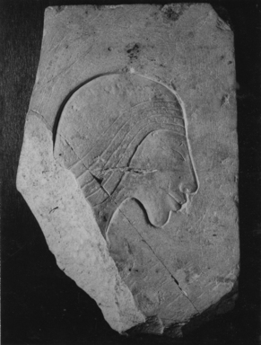 <em>Trial Piece with a Head of a Man</em>, ca. 1352-1336 B.C.E. Limestone, 6 1/4 × 9 in. (15.8 × 22.9 cm). Brooklyn Museum, Charles Edwin Wilbour Fund, 35.882. Creative Commons-BY (Photo: , CUR.35.882_NegA_print_bw.jpg)